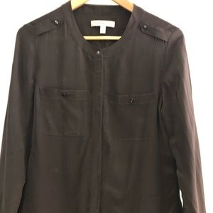 Silk collarless shirt